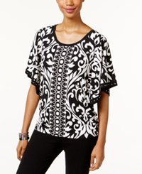 Jm Collection Butterfly Sleeve Scroll Print Top Only At Macy's Black Grand Scroll