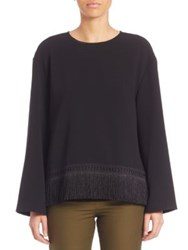Public School Solid Fringed Blouse Black