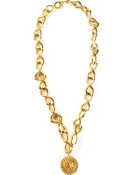 Chanel Vintage Medallion Pendant Necklace Metallic