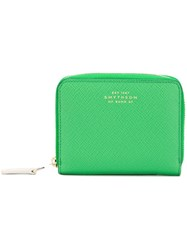 Smythson Zip Up Wallet Green
