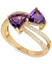 Macy's Amethyst 2 1 10 Ct. T.W. And Diamond 1 4 Ct. T.W. Ring In 14K Gold Yellow Gold