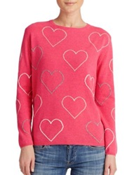 Chinti And Parker Heart Cashmere Sweater Dark Pink