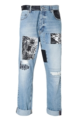 Mcq By Alexander Mcqueen Loose Fit Mixed Media Patched Jeans