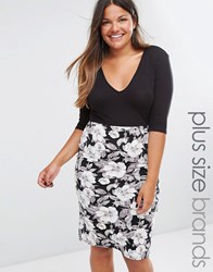 Club L Plus Plunge Midi Dress With Floral Print Skirt Black White
