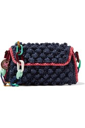 M Missoni Textured Raffia Shoulder Bag Blue
