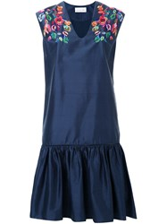 Megan Park Tula Ruffle Hem Dress Blue