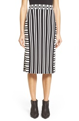Tanya Taylor 'Camilla' Stripe Skirt Black White Stripe