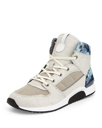 French Connection Charles Leather And Fabric High Top Sneaker White