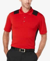 Pga Tour Men's Colorblocked Airflux Polo Shirt Chili Pepper