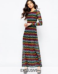 Reclaimed Vintage Long Sleeve Maxi Dress In Knitted 70S Mixed Zig Zag Multi