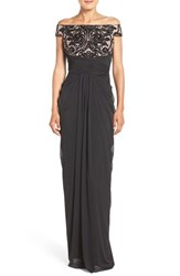 Adrianna Papell Women's Sequin Lace And Tulle Gown Black Rose Gold