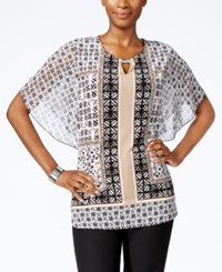 Jm Collection Petite Butterfly Sleeve Printed Top Only At Macy's Batik Tile