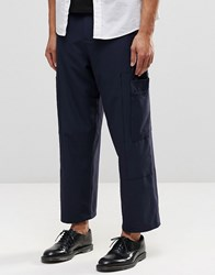 Asos Wide Leg Smart Cropped Trousers With Cargo Pockets In Navy Navy