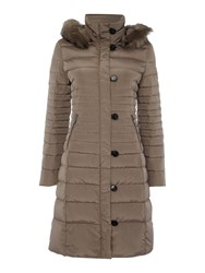 Armani Jeans Long Padded Jacket With Removable Hood Taupe