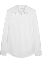 Tory Burch Murphy Lace Trimmed Cotton Poplin Shirt White