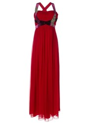 Alberta Ferretti Embellished Cross Strap Back Gown