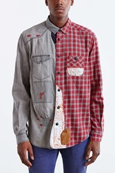 Koto Repaired Patchwork Button Down Shirt