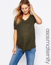 Asos Maternity T Shirt With V Neck In Oversized Slouchy Rib Khaki Green