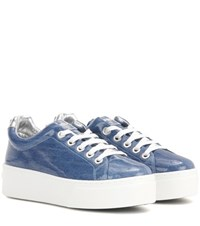 Kenzo Platform Coated Denim Sneakers Blue