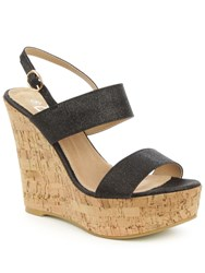 Daniel Wirral Shimmer High Cork Wedge Sandals Black Glitter