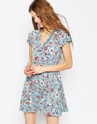 Asos Tea Dress With Ruffles In Vintage Floral Print Multi
