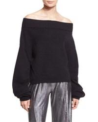 Opening Ceremony Off The Shoulder Wool Blend Sweater Black
