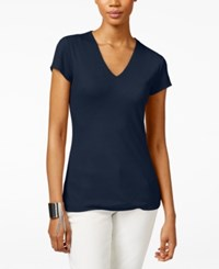 Inc International Concepts Petite Ribbed V Neck T Shirt Only At Macy's Deep Twilight