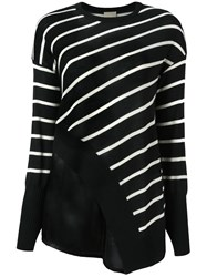Nude Striped Asymmetric Knit Blouse Black
