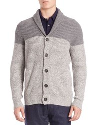 Brunello Cucinelli Ribbed Colorblock Cashmere Sweater Grey