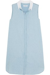 Equipment Lanie Cotton Chambray Mini Dress Light Blue