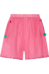M Missoni Embroidered Cotton And Silk Blend Shorts Pink