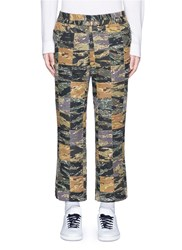 Palm Angels Camouflage Print Patchwork Pants Green Multi Colour