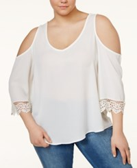 Eyeshadow Plus Size Lace Trim Cold Shoulder Blouse Ivory