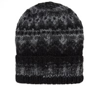 Chamula Double Cuff Fair Isle Hat Black