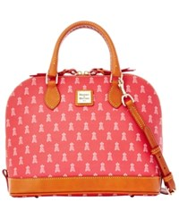 Dooney And Bourke Los Angeles Angels Of Anaheim Mlb Zip Satchel Red