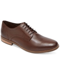 Rockport Style Purpose Plain Toe Oxfords Men's Shoes Brown Leather