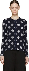 Kenzo Navy Striped Polka Dot Button Up Cardigan