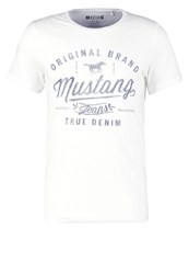 Mustang Tailored Fit Print Tshirt White