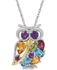 Macy's Multi Gemstone Owl Pendant Necklace 2 Ct. T.W. In Sterling Silver And 14K Gold Plated Sterling Silver