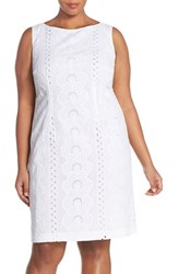 Plus Size Women's Chetta B Sleeveless Eyelet Cotton Sheath Dress