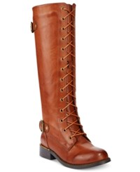 Wanted Cocktail Lace Up Riding Boots Women's Shoes Tan