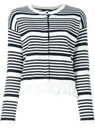 Twin Set Striped Ruffle Cardigan White