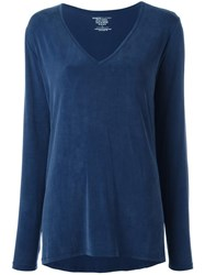 Majestic Filatures V Neck Jumper Blue