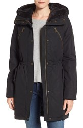 Vince Camuto Women's Cotton Canvas Anorak With Faux Fur Trim Hood Black