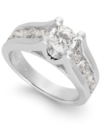 Macy's Certified Diamond Channel Engagement Ring In 14K White Gold 2 Ct. T.W.