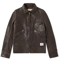 Neighborhood Nova Leather Jacket Brown