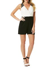 Laundry By Shelli Segal Beaded Strap Color Block Crepe Romper Black Ivory