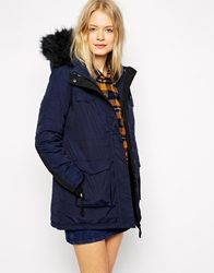 Bellfield Winter Coat With Faux Fur Navy