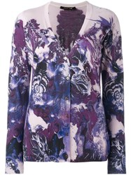 Roberto Cavalli Floral Print Cardigan Pink And Purple