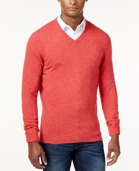 Club Room Cashmere V Neck Solid Sweater Coral Cave Heather